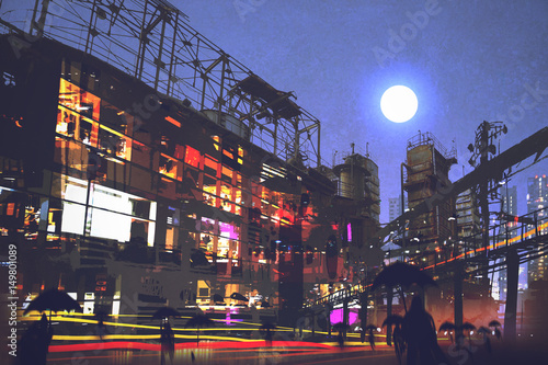 digital art of night scene with people walking on street in city with colorful light, illustration painting © grandfailure