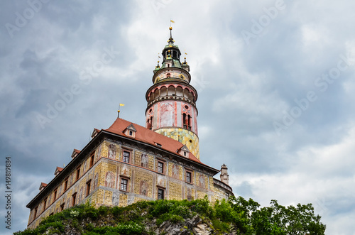 Poster View of castle tower in Cesky Krumlov from below (on the wooden bridge on Vltava