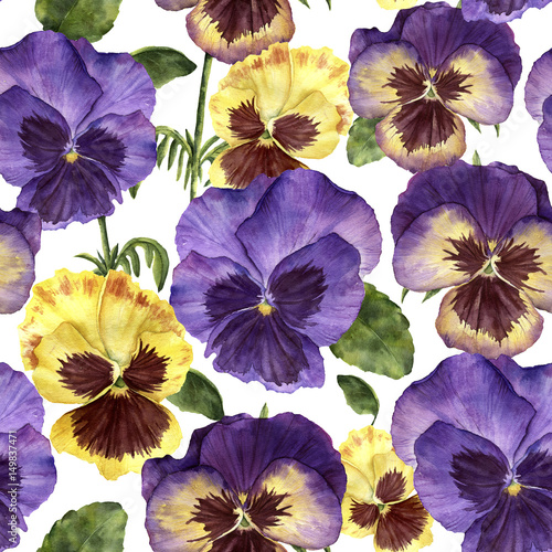 Watercolor floral pattern with pansy flowers. Hand painted ornament with flowers, leaves and branches isolated on white background. For design, print and background - 149837471