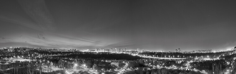 Night Moscow panorama BW