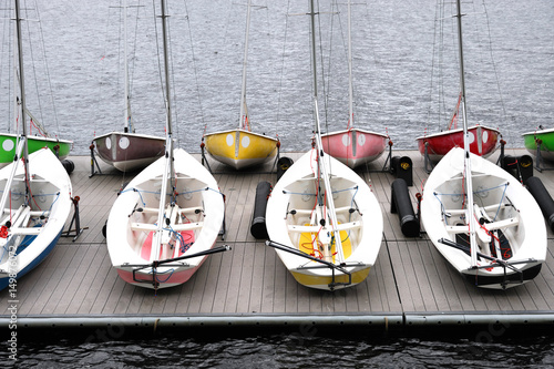 close up on sailboats in the harbor Poster