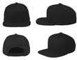 Mock up blank flat snap back hat black isolated view set on white background