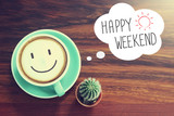 Fototapety Happy Weekend coffee cup background with vintage filter