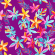 Cotton fabric Watercolor exotic flowers and leaves background.