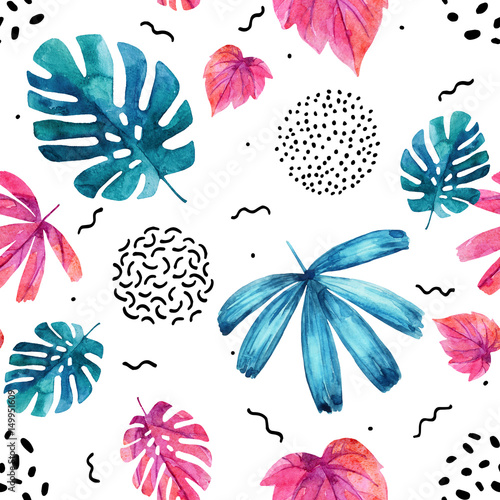 Watercolor exotic leaves background. - 149951609