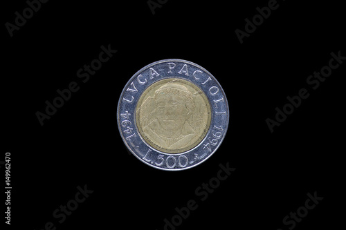 Poster Italian Lira coin bearing the portrait of Luca Pacioli (1447-1517), released by Italy in 1994 on the 500th anniversary of his treatise Summa de arithmetica (i