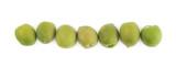 Multiple green olives lined up