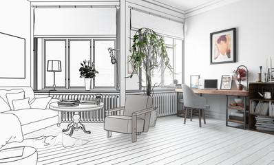 Möbliertes Wohnzimmer (Konzept)