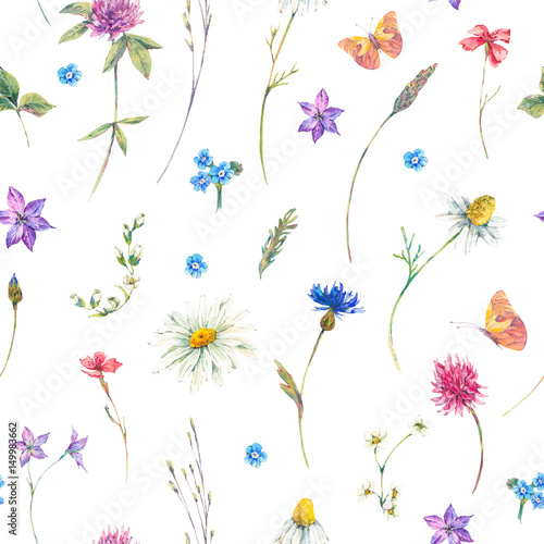 Naklejka Watercolor seamless pattern with wildflowers
