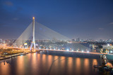 Thailand bangkok night cable bridge ( Rama VIII Bridge ) is a cable-stayed bridge crossing the Chao Phraya River in Bangkok, Thailand.