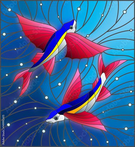 ilustracja-w-stylu-witrazu-z-dwoch-plywajacych-pod-rybami-na-tle-pecherzykow-powietrza-i-powietrza