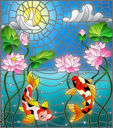 ilustracja-w-stylu-witrazu-z-koi-ryb-i-kwiatow-lotosu-na-tle-nieba-i-wody-slonecznej