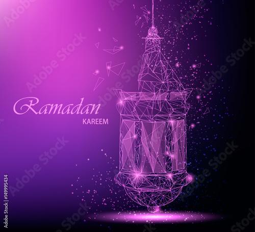 Ramadan kareem beautiful greeting card with traditional arabic ramadan kareem beautiful greeting card with traditional arabic lantern polygonal art on purple background m4hsunfo