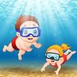 Two kids diving underwater  - 150010887