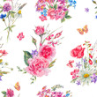 Watercolor seamless pattern with wildflowers and roses