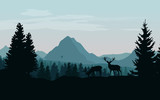Landscape with blue mountains, forest and silhouettes of trees and wild deers - vector illustration - 150025823