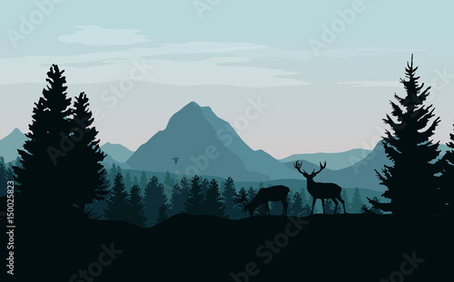 Fototapeta Landscape with blue mountains, forest and silhouettes of trees and wild deers - vector illustration