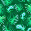 Cotton fabric vector seamless tropical leaves pattern. strong greens leaves of exotic monstera plant. retro style illustration.