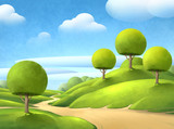 Beautiful digital illustration of a peaceful natural countryside landscape