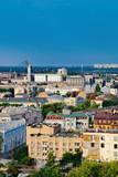Picturesque view from Zamkova Hill on Havansky Bridge across the Dnieper river. Historical center of Kiev, Ukraine.