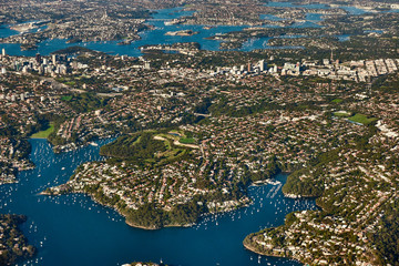 Aerial view on Sydney, Double bay harbourside area