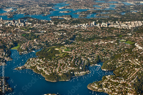 Poster Sydney Aerial view on Sydney, Double bay harbourside area