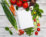 recipe planning concept with raw vegetables and ingredients - 150074650