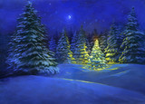 Beautiful digital Christmas illustration of a snowy winter countryside landscape with fir trees