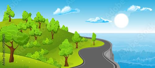 Poster Blauw Rural summer landscape