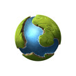 Digital illustration of a tiny little planet with green shores and seas - 150105842