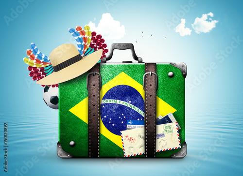 Plakat Brazil, Brazil landmarks, travel and retro suitcase