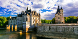 Majestic Chenonceau castle over sunset, Beautiful castles of Loire valley. France - 150121088