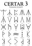 CERTAR Alphabet 3 - Tolkien Script on white background - Vector Image