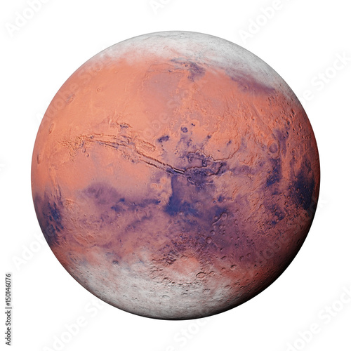 planet Mars during the Martian winter, isolated on white background