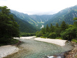 The scenic area of forest, river and mountain in Kamikochi, Nagano Prefecture, Japan.