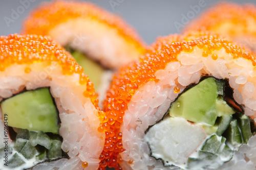 fish roe sushi avocado cheese, sesame