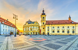 Fototapety Sunset in center of Sibiu, Transylvania region, Romania.