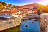 General view of Dubrovnik - Fortresses Lovrijenac and Bokar seen at sunset - 150196812