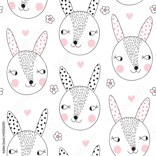 Cotton fabric seamless cute bunny rabbit pattern vector illustration