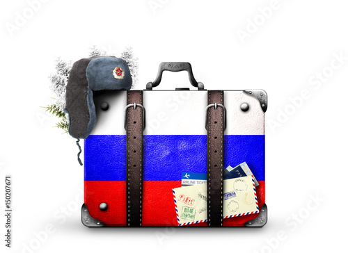 Poster Russia, vintage suitcase with Russian flag
