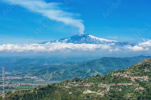 Mount Etna volcano, view from Taormina, Sicily