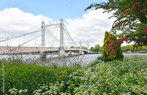 Albert Bridge from Battersea Park in Spring. Poster