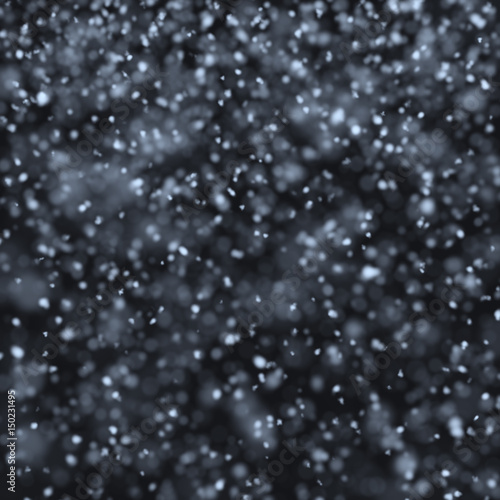 Poster Water planten Snow falling at night