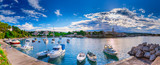 Wonderful romantic summer evening landscape panorama coastline Adriatic sea. Boats and yachts in harbor at cristal clear azure water. Old town of Krk on the island of Krk. Croatia. Europe. - 150238666