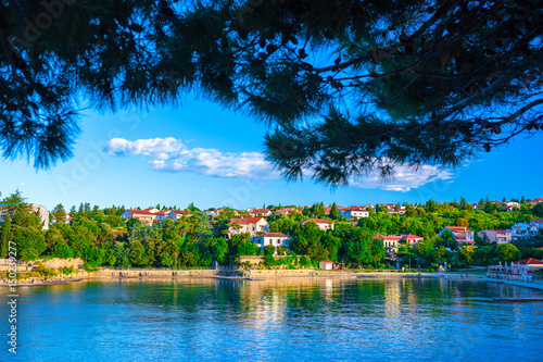 Aluminium Wonderful romantic summer evening landscape panorama coastline Adriatic sea. Boats and yachts in harbor at cristal clear azure water. Old town of Krk on the island of Krk. Croatia. Europe.