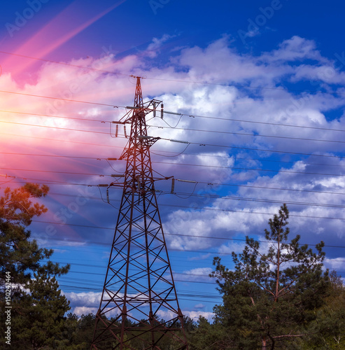 High-voltage lines at sunset. electricity Poster