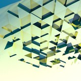 Abstract 3d background with green, blue polygonal triangles.