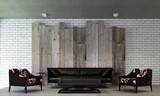 The interior design of living room and wood wall