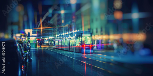 night tram in the city ,colorful nigh traffic in the city