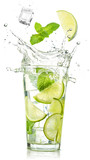 Fototapety lime and mint falling into a cocktail splashing